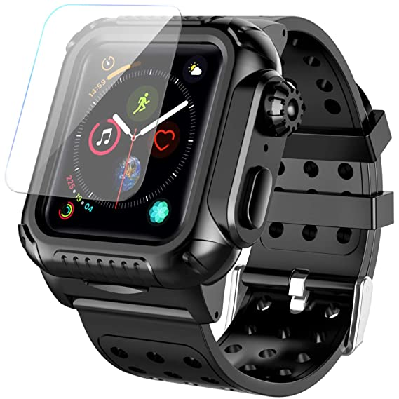 huge selection of 85b8d 47c6a Apple Watch 4 Case Band 44mm 2018, SPIDERCASE 360° Rugged Case with Strap  Band, Built-in Screen Protector Full Body Cover Case for Apple Watch Series  ...