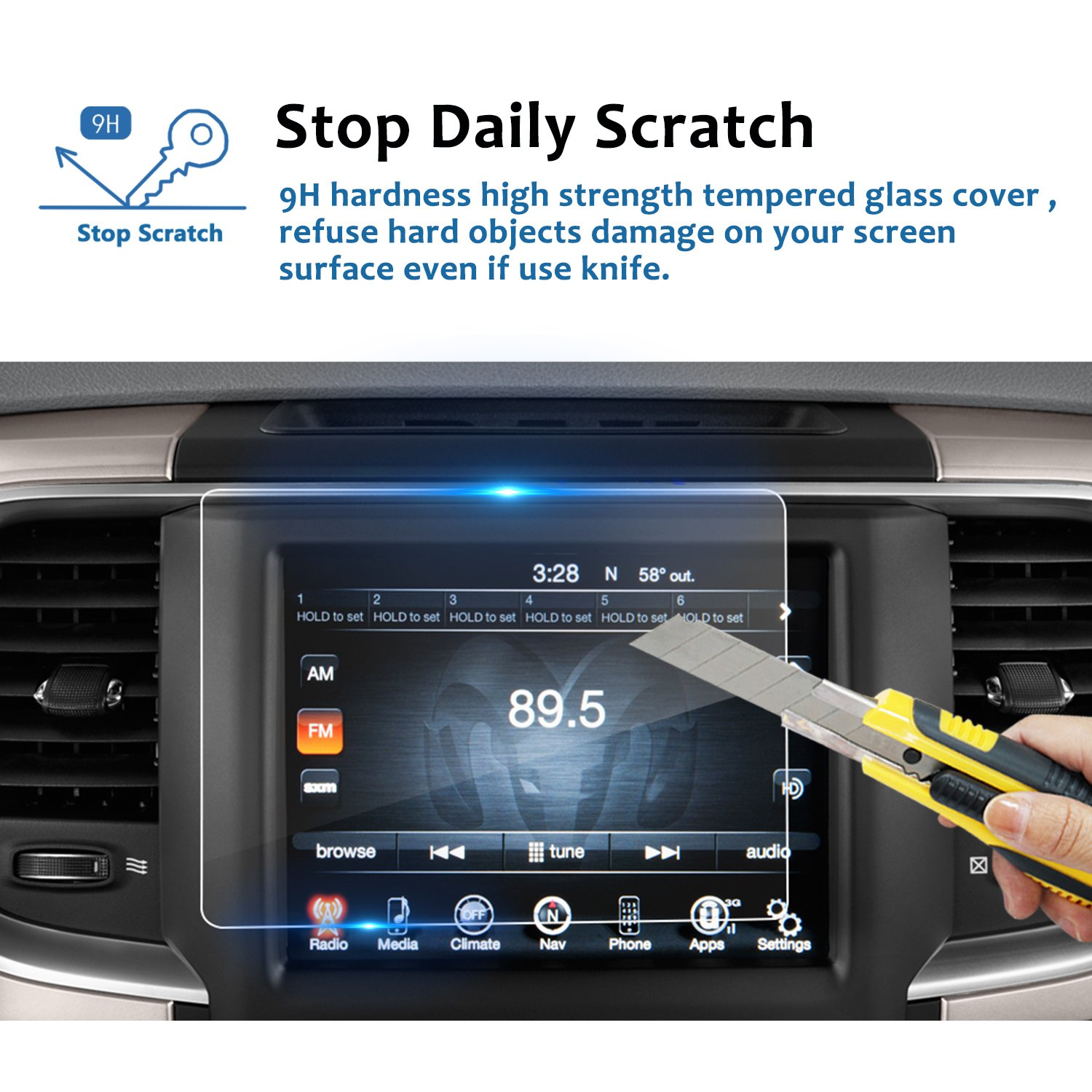 LFOTPP 2013-2018 Dodge Ram 1500 2500 3500 Uconnect 8.4 Inch Audio Touchscreen Display Screen Protector, Tempered Glass Car Navigation Protective Film 9H Anti-Scratch(1 PCS)