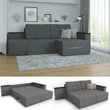 XXL Ecksofa Mit Schlaffunktion 260 X 160 Cm Grau   Eckcouch Relax Sofa  Couch Schlafsofa Kissen