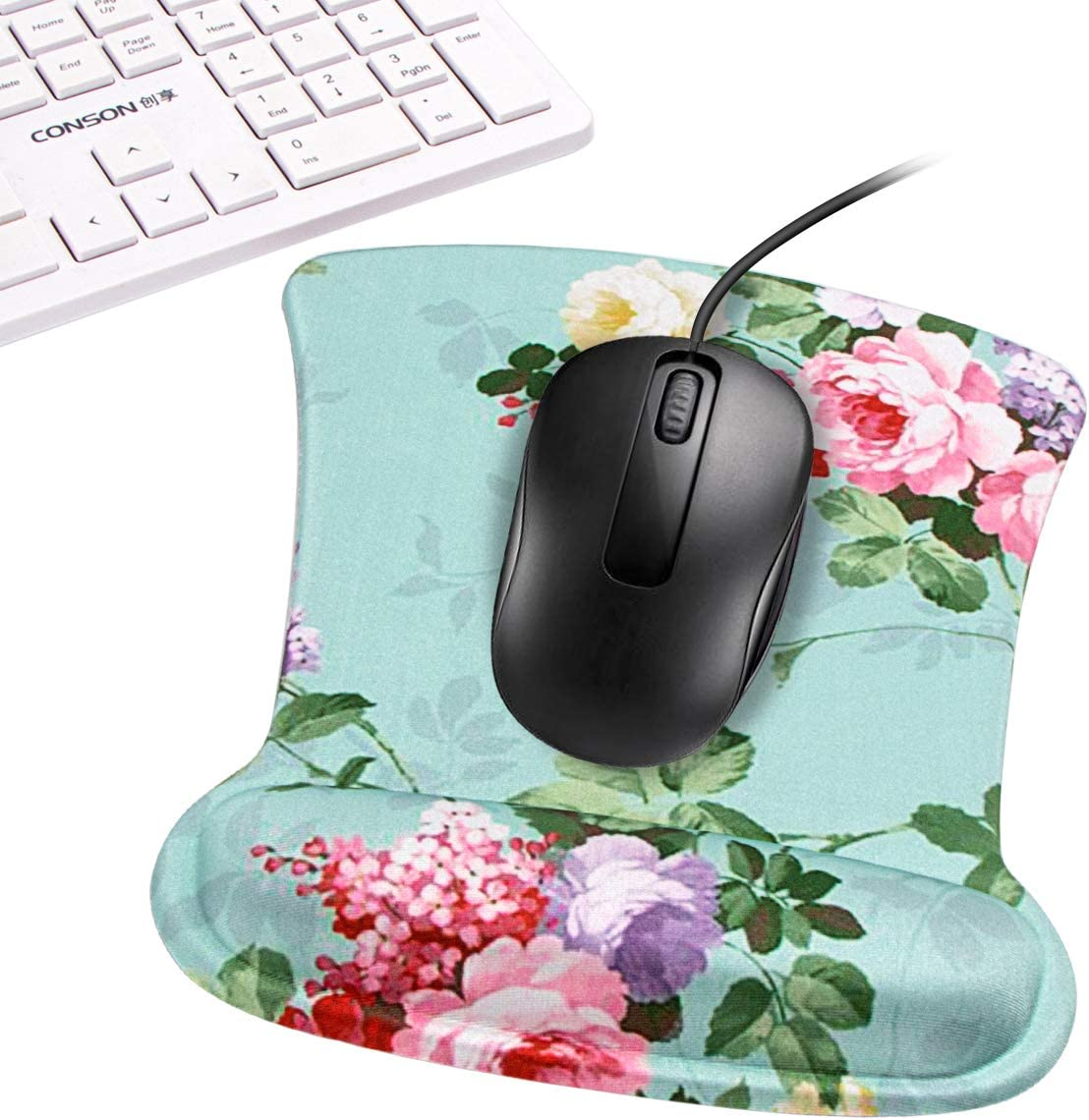 FF1 Non Slip Memory Foam Mouse Pad Wrist Support Wrist Rest for Office Laptop /& Mac Computer Durable /& Comfortable /& Lightweight for Easy Typing /& Pain Relief-Ergonomic Support