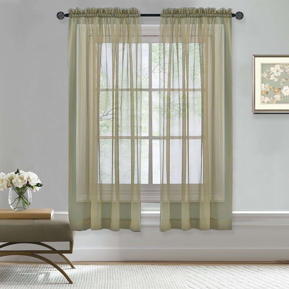 Nicetown Sheer Curtains Rod Pocket - Sheer Voile Curtain Panels for Bedroom Window