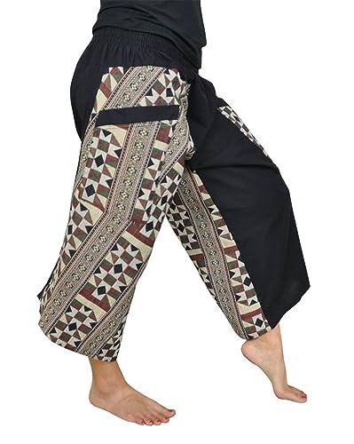 Pantalones cagados para hombres y mujeres 7/8 Samurai con patrones y bolsillo lateral como ropa hippie de virblatt S – L – Zuneigung