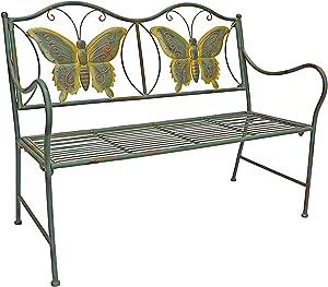 PierSurplus Junior Metal Butterfly Bench - Kids Park Bench w/ Butterflies For Yard or Garden