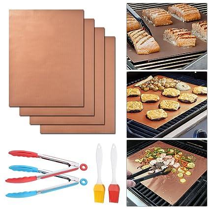 XCSOURCE 4pcs Manteles antiadherente para parrilla de barbacoa Reutilizables PFOA Free Cooking Sheet Barbacoa Forro de