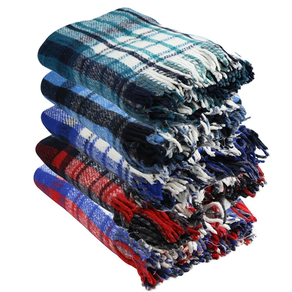 Extra Heavy Twin Size Brushed Plaid Reversible Mexican Yoga Blanket 1 Piece Made of 100 Recycled Fibers by Yogavni TM