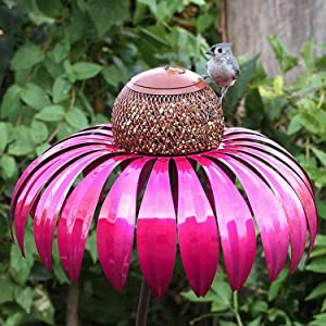 Yelwatfri Bird Feeder, Sensation Cornflower Feeders for Outdoors Hanging Premium Standing Bird Feeder Metal Garden Art Flower Pole Stand Wild Bird Feeder for Bird Watching Garden Decoration (Purple)