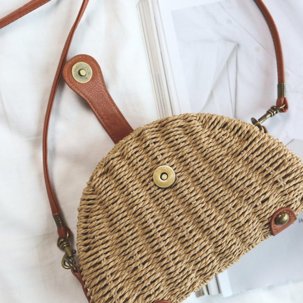 GAOQQ Summer Female Bag Holiday Single Shoulder Bag Straw Bag Khaki Crossbody Bag