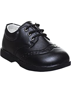 NEW BOYS SCHOOL SHOES STRAP WEDDING SMART KIDS INFANTS BLACK PARTY CASUAL 8-UK 6