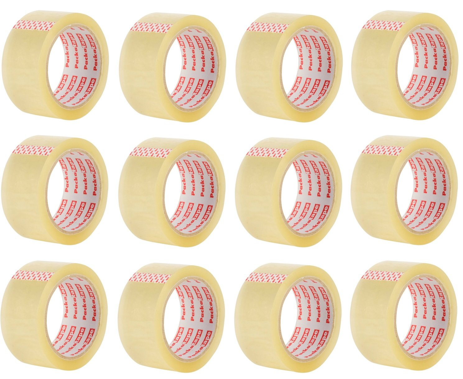 Packatape Clear Packaging Tape for Parcels and Boxes. This 12 roll Pack of Heavy Duty Clear Packing Tape Provides a Strong, Secure and Sticky Seal for Your Boxes, 12 Rolls 48MM x 66M