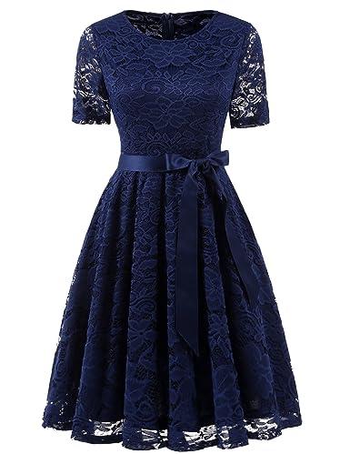 Dresstells Short Scoop Bridesmaid Floral Lace Dress Cocktail Formal Swing Dress by Dresstells