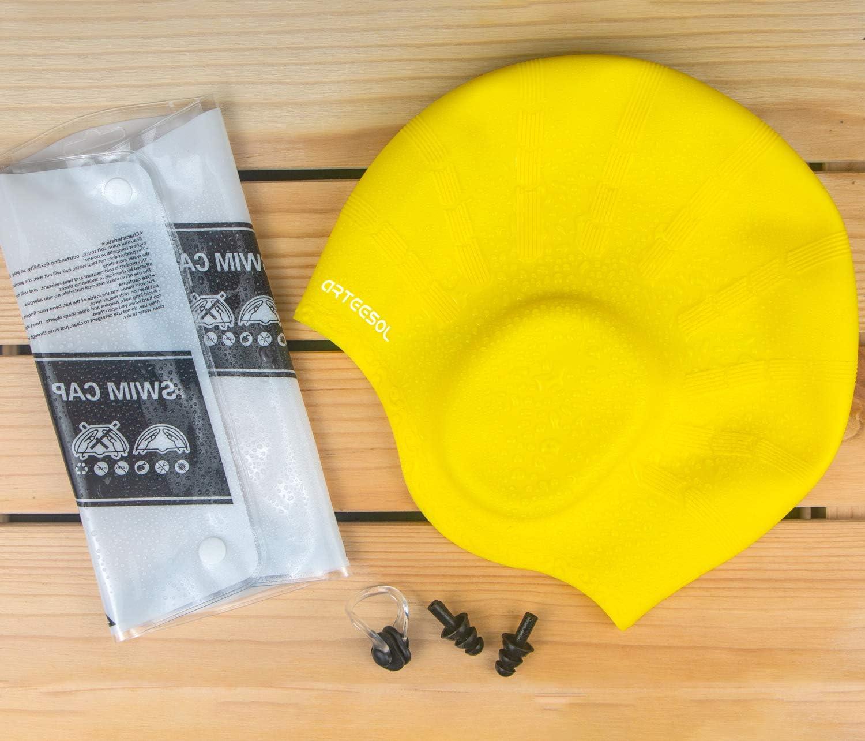 Protecion de Oido Gorro de Ba/ño de Silicona Impermeable Gorro Piscina para Hombre y Mujer arteesol Gorro de Nataci/ón