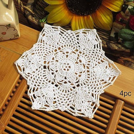 Tapete de crochet de algodón Kilofly de 17,78 cm, color beige, 4 ...
