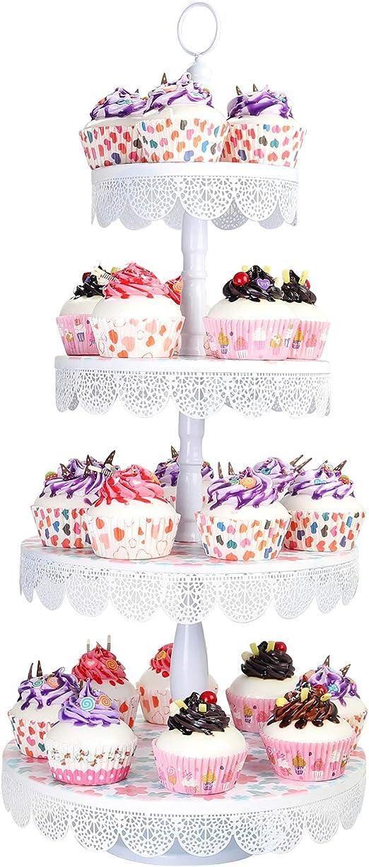 3Set Antique Cake Stand Round Cupcake Stands Metal Dessert Display Event 2 Color