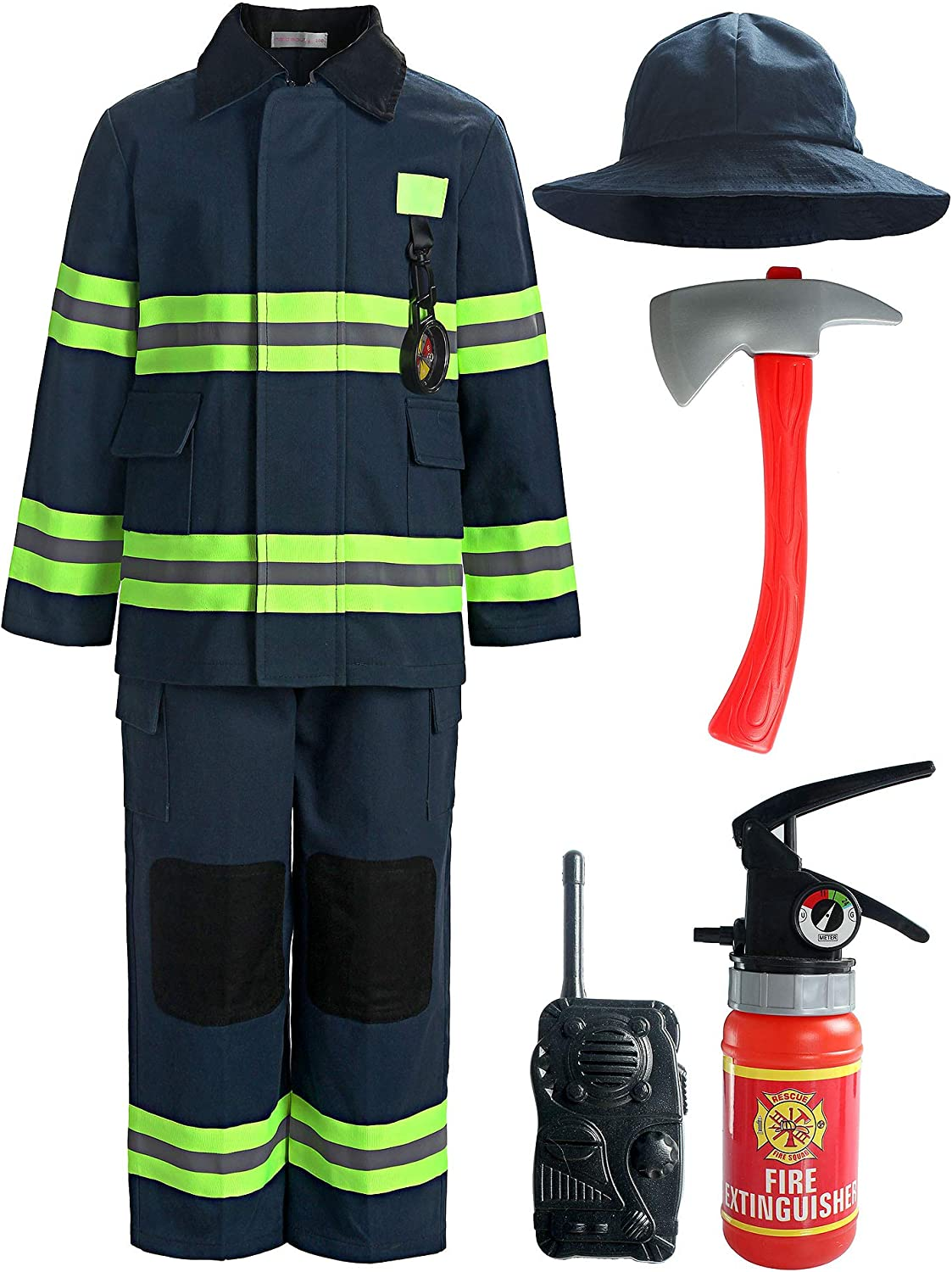 ReliBeauty Children Firefighter Role Play Fireman Costume for Kids
