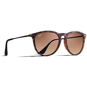 Berikin サングラス 超軽量21g 偏光 レンズ レディース エリカ UV400 紫外線カット uvカット sunglass for women べっこう ブラウン グラデーション