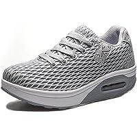 Mujer Zapatillas de Deporte Malla Air Cuña Cómodos Sneakers Mujer Casual Running Senderismo Ligero Mesh Zapatillas Gris…