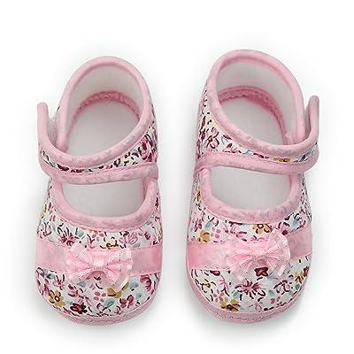 1 Paire Chaussure Chausson Pr Bébé Princesse Fille Coton Souple De 9-18 Mois