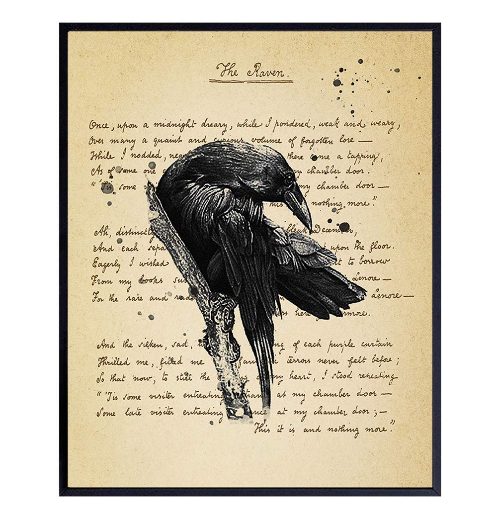 Literary Gift Library Gothic Style Edgar Allan Poe Framed Matte Book Plate Gothic Home Decor Wall Art Book Lover Gift Raven Bookish