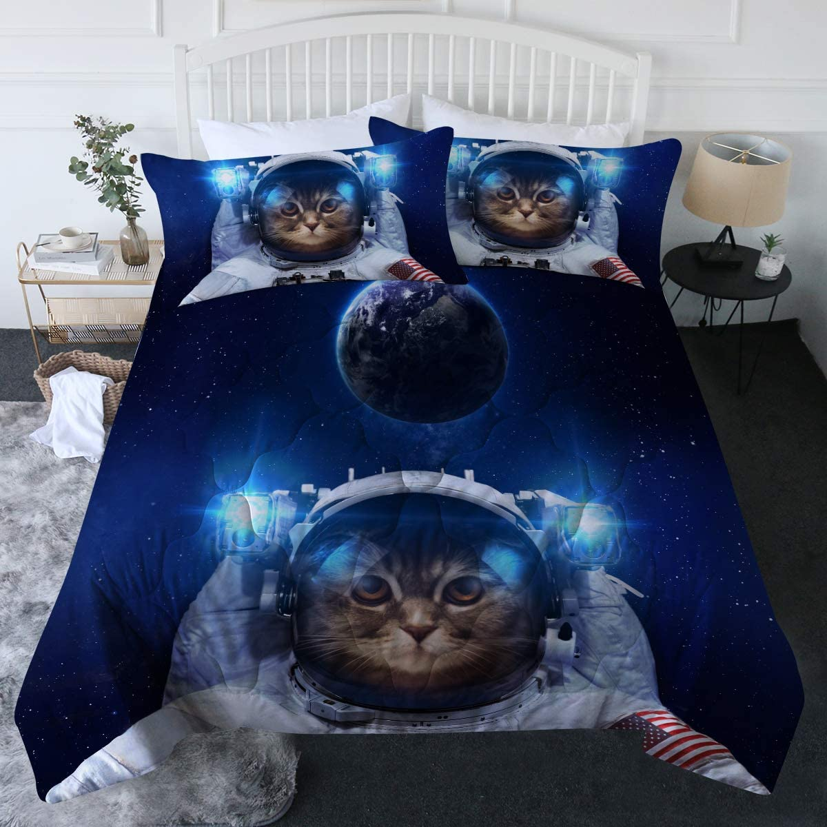 BlessLiving 3 Piece Astronaut Cat Comforter Set with Pillow Shams Funny Space Cat Bedding Set with 3D Printed Designs Reversible Comforter Full/Queen Size Duvet Sets, Blue Galaxy