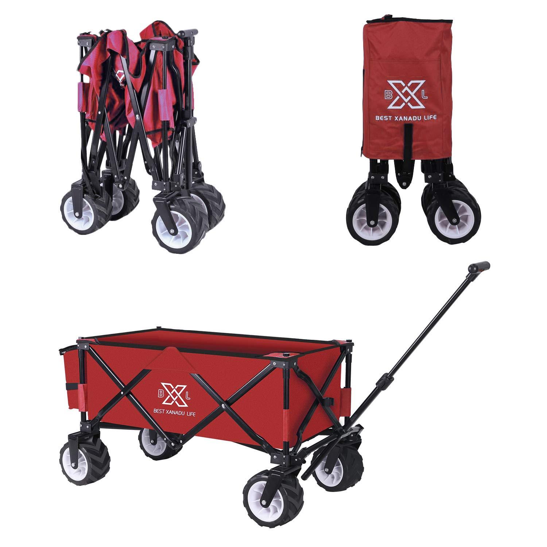 BXL Heavy Duty Collapsible Folding Garden Cart Utility Wagon for Shopping Outdoors Black