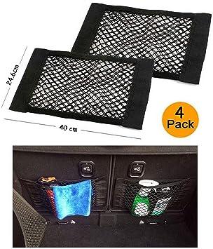 Ruesious Kofferraum Netztasche 4 Stück Universal Netztasche Mit Klettverschluss Autositz Kofferraumnetz Kofferraum Netz Organizer Für Universal Auto Auto