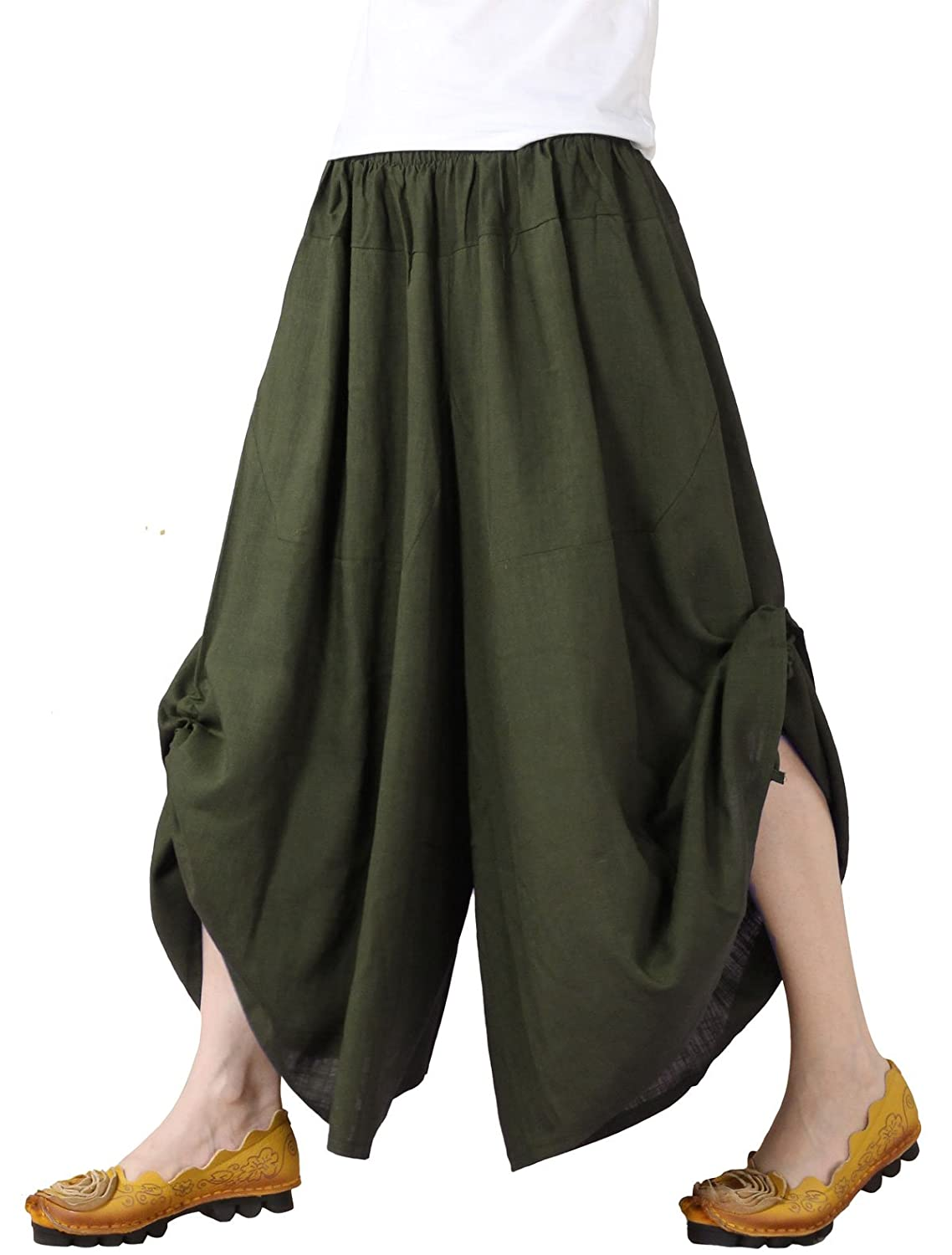 746cb4241c Mordenmiss Women's New Elastic Waist Wide Leg Pants with Pockets at Amazon  Women's Clothing store: