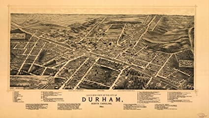 Amazon Com Map 1891 Bird S Eye View Of The City Of Durham North