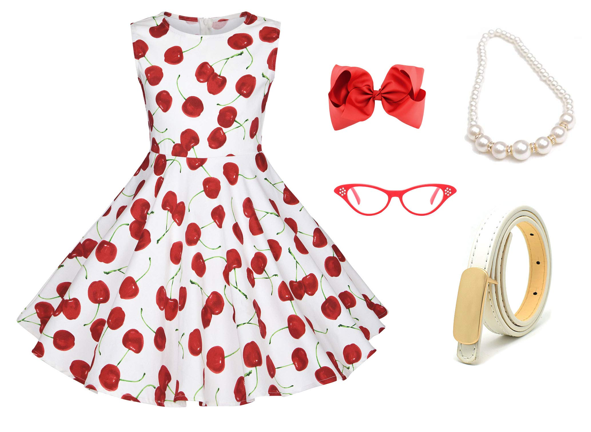 50s Girls Vintage Swing Dresses Casual Party Outfits Costume Dress Set with 50's Accessories Set of 5