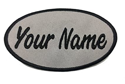 cf3104b7323e Custom Embroidered Name Patch, Uniform Name Tag, Personalized Label/Iron  on/Sew on/ 2x4 (Gray-Oval)