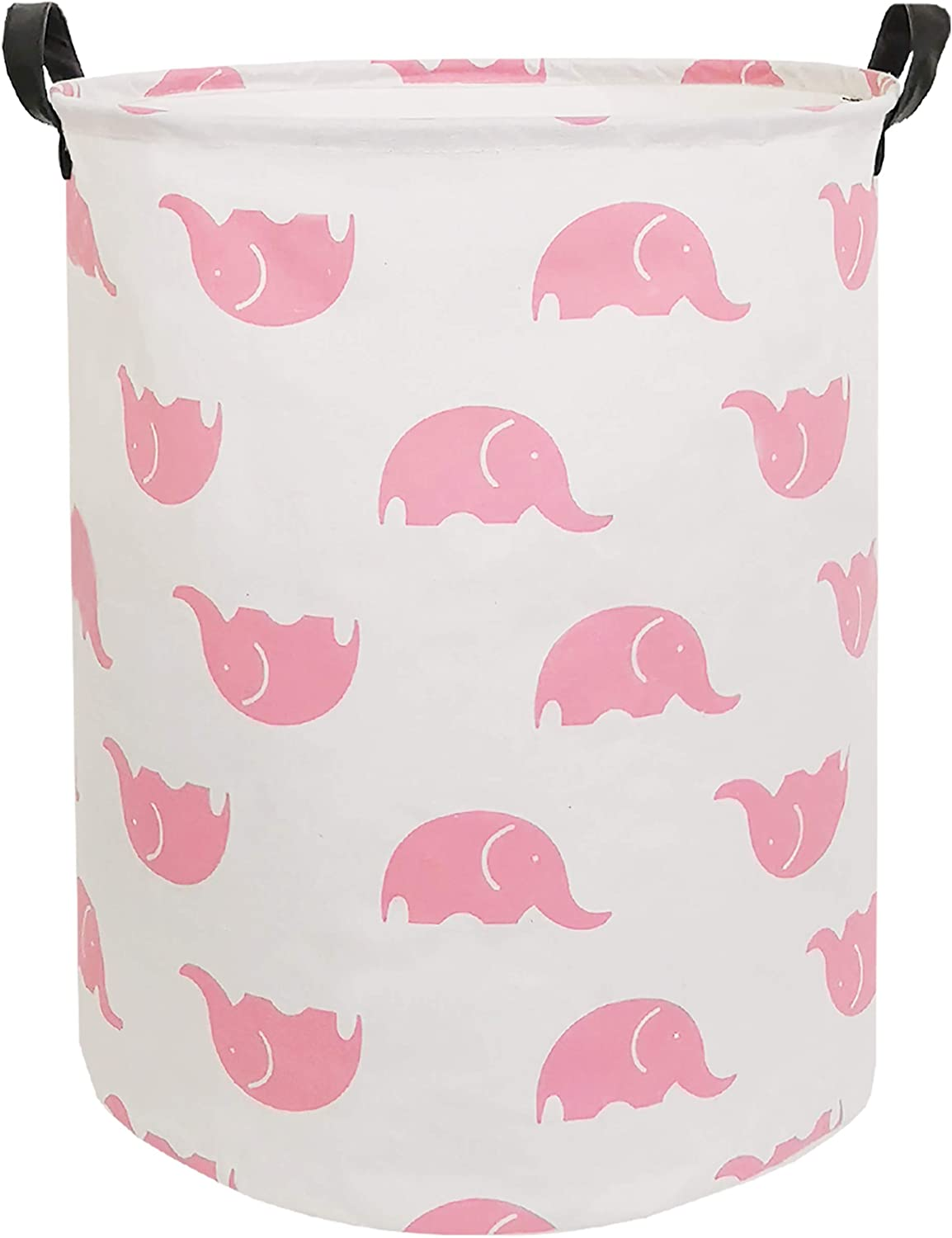 CLOCOR Large Storage Basket,Canvas Fabric Waterproof Storage Bin Collapsible Laundry Hamper for Home,Kids,Toy Organizer (Pink Elephants)