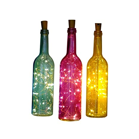Botella de vino cadenas de LED linterna super star están decoradas mini light, marrón