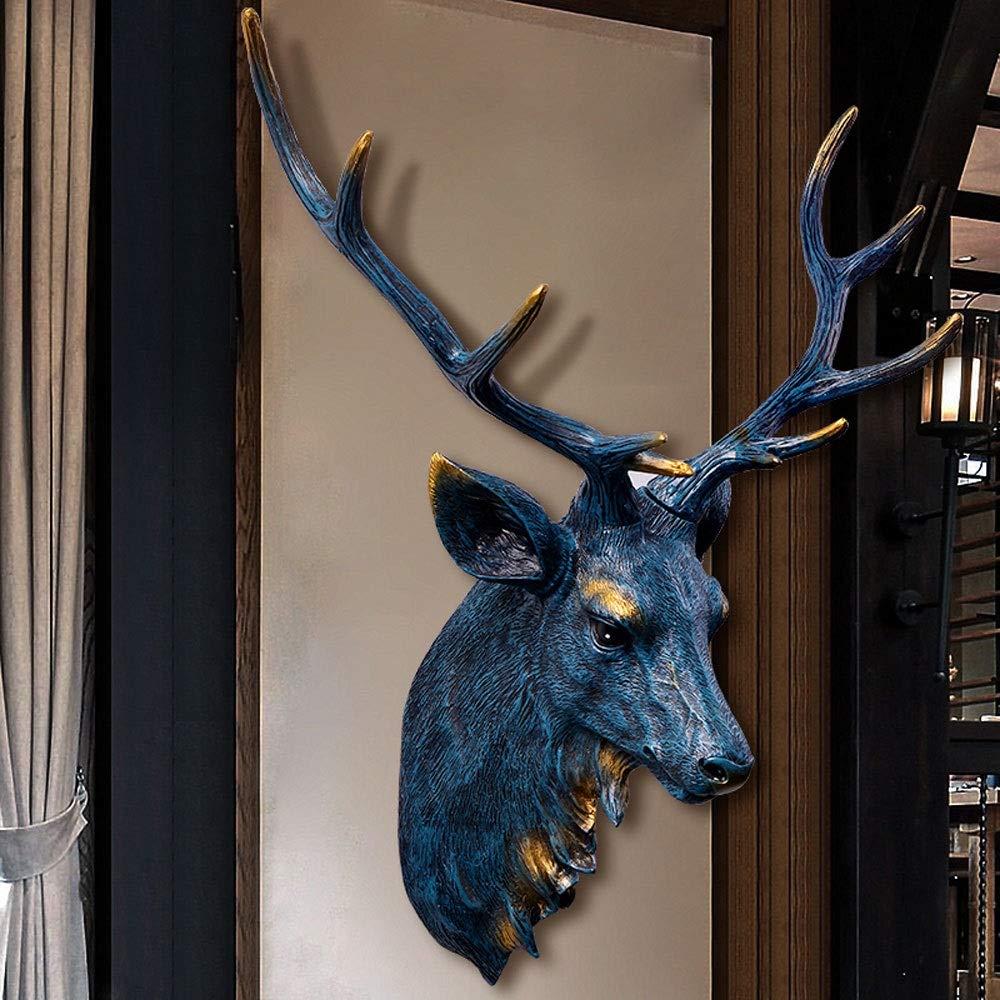 XIANGZHI Cabeza De Animal Decoraci/ón De La Pared Simulaci/ón Retro Arte Decoraci/ón Resina Cabeza De Ciervo Cabeza De Ciervo Artificial Medio Cuerpo Cabeza De Ciervo Colgando Pared Color : Blue
