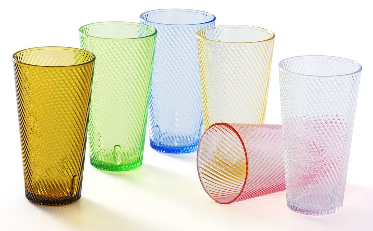 YINJOYI vasos de plástico acrílico irrompibles para niños de plástico vasos pequeños de agua jabón vasos vasos de cristal apilables para picnic camping playa fiesta 4 Colors