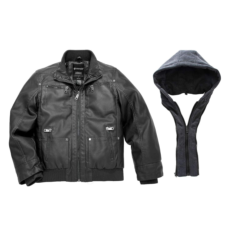 Wantdo Boys Faux Leather Jacket Waterproof Zipper Coat with Removable Hood
