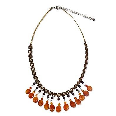Novica Carnelian and garnet waterfall necklace, Sun Drops - Unique Carnelian Beaded Necklace