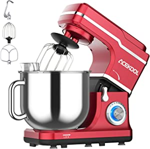 Stand Mixer, 10-Speed Electric Mixer Tilt-Head Kitchen Food Mixer for Baking&Cake, with 7.5QT Bowl, Whisk, Dough Hook, Beater, Splash Guard (660W)Red