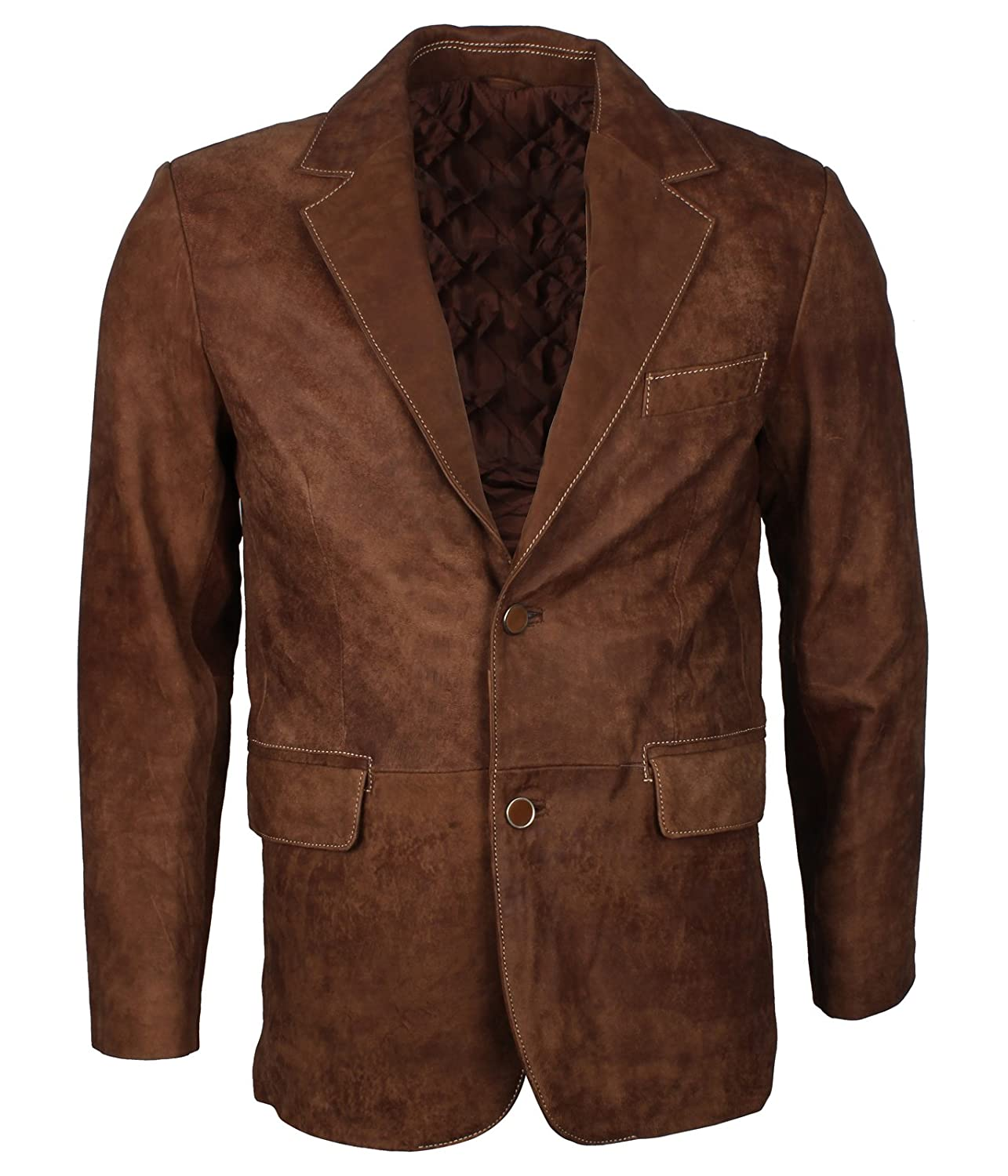 New Mens Formal Suede Leather Coat /
