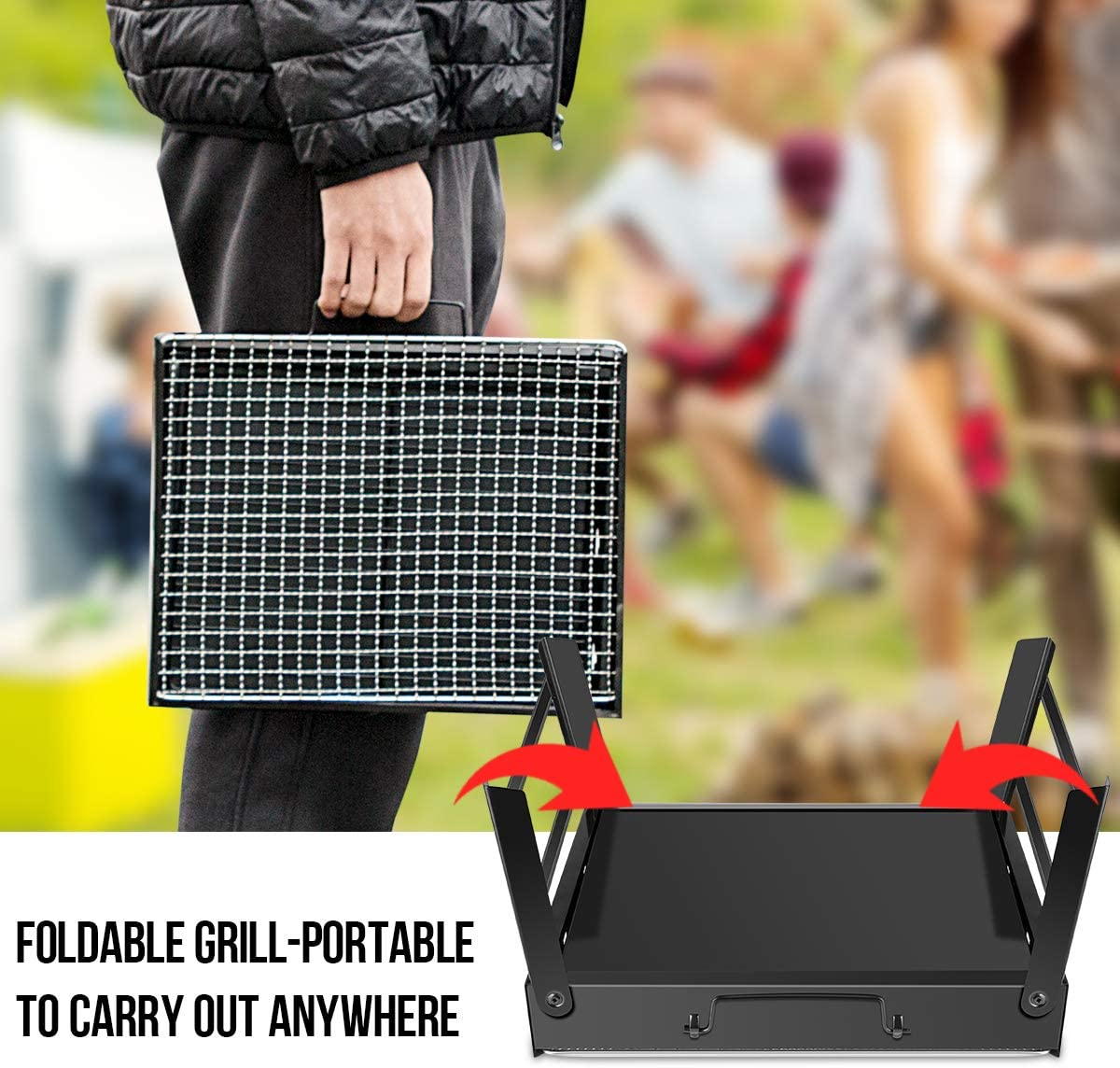 Portable Mini Foldable Charcoal Barbecue Black WOSTOO Charcoal Barbecue BBQ Charcoal Barbecue Picnic Barbecue Garden Camping Party Beach Outdoor Barbecue