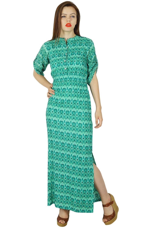 Bimba Frauen lange Maxi Tag Kleid Rayon Kleid mit Seitenschlitz Sommerkleidung