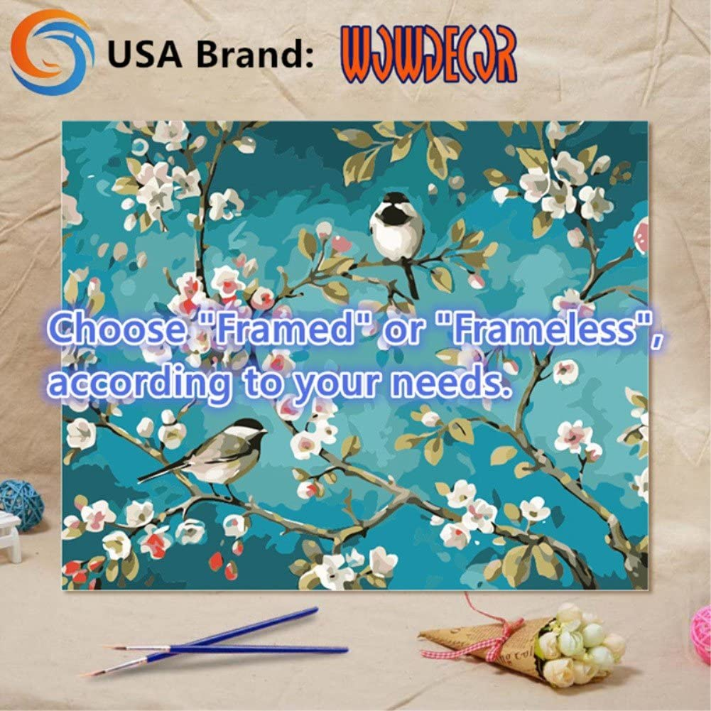 Squirrel Bird Sunflower 16x20 inch Number Painting WOWDECOR Paint by Numbers Kits for Adults Kids Frameless