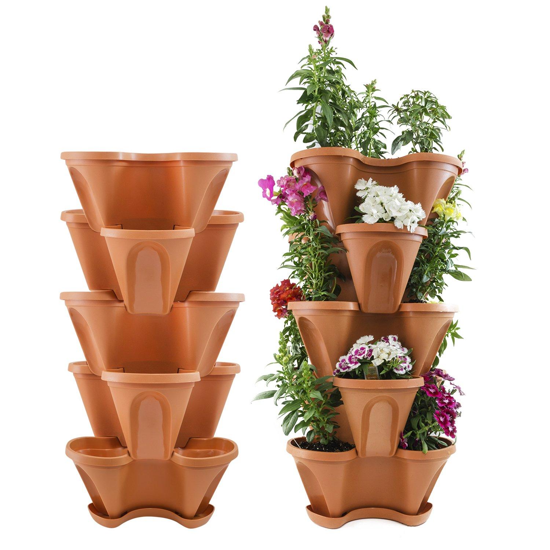 Houseables 5 Tier Planter, Stackable, 28'' H x 12'' W, Polypropylene, Terracotta, Vertical, Self-Watering, 5-Tiered Pots, Indoor/Outdoor Strawberry Garden Kit, for Flowers, Vegetables, Herbs, Gardening