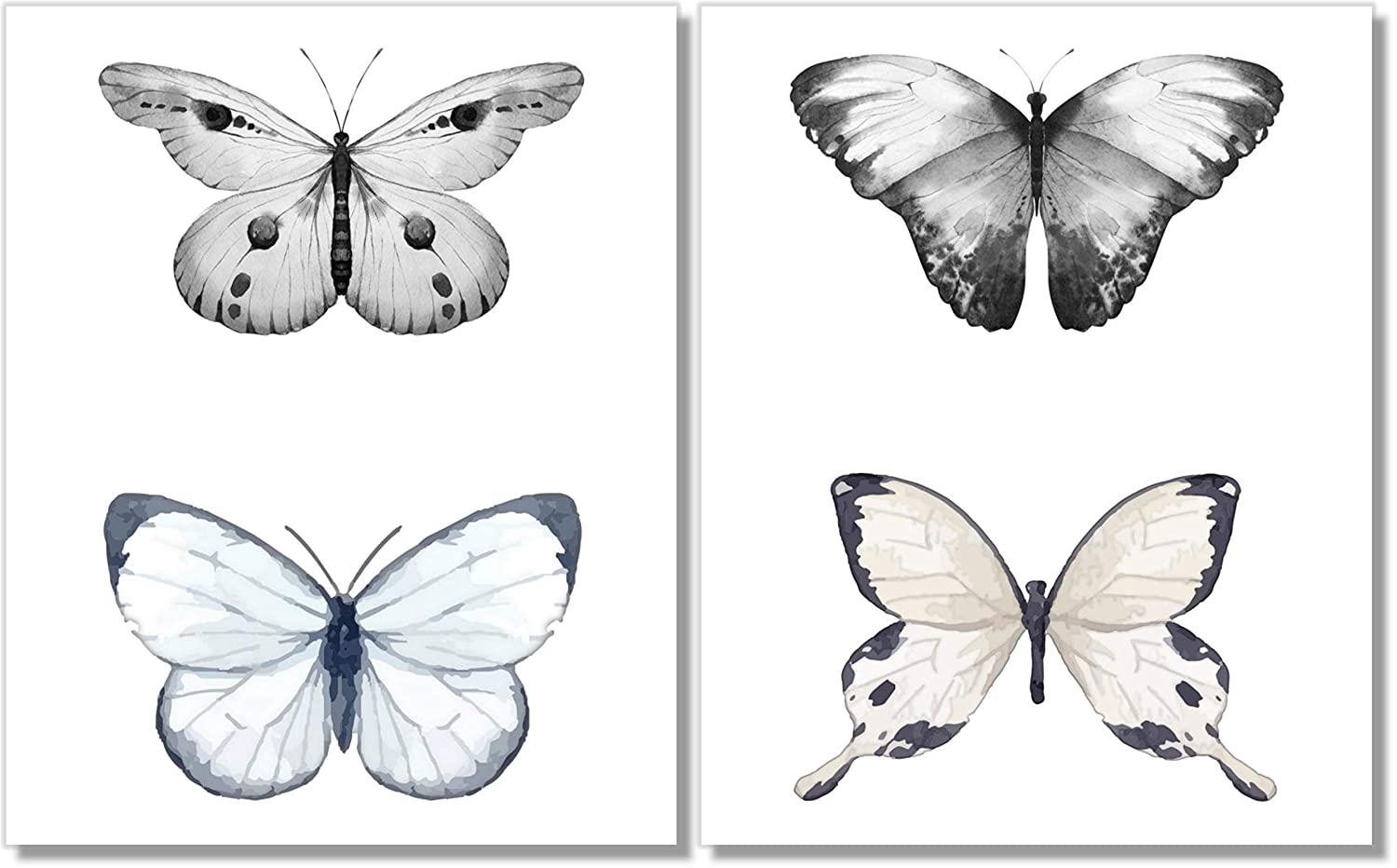 Modern 8x10 FT Photo Backdrops,Butterfly Shapes with Black Borders and Style Details Floral Artful Print Background for Baby Shower Birthday Wedding Bridal Shower Party Decoration Photo Studio