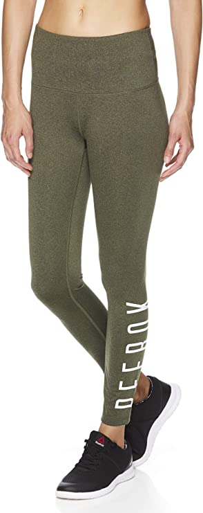 Reebok Womens 7/8 Workout Leggings w/High-Rise Waist - Performance Compression Tights
