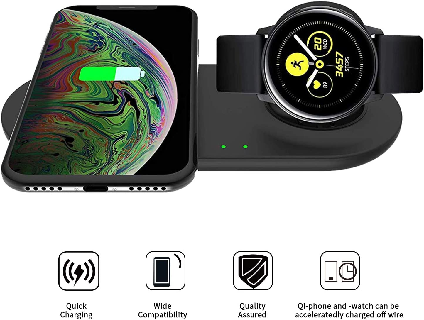 VICARA Compatible with Galaxy Watch Active 2 in 1 Wireless Charger Duo, Fast Wireless Charger Stand Holder for Uiversally Qi Enabled Smart Phone, ...