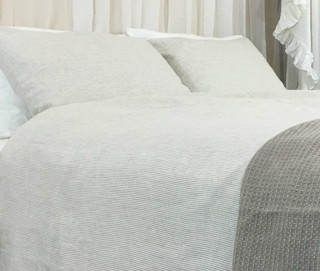 Natural Linen Ticking Stripe Duvet Cover, Ticking Striped Bedding, Custom Bedding, Linen Bedding, Queen Duvet Cover, King Duvet Cover, Twin Duvet Cover, Full Duvet Cover, FREE SHIPPING