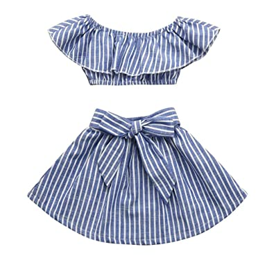 7b94c7ce7ed 2Pcs Toddler Baby Girls Ruffle Off Shoulder Striped Tops+Bow Skirt Sets 2-3