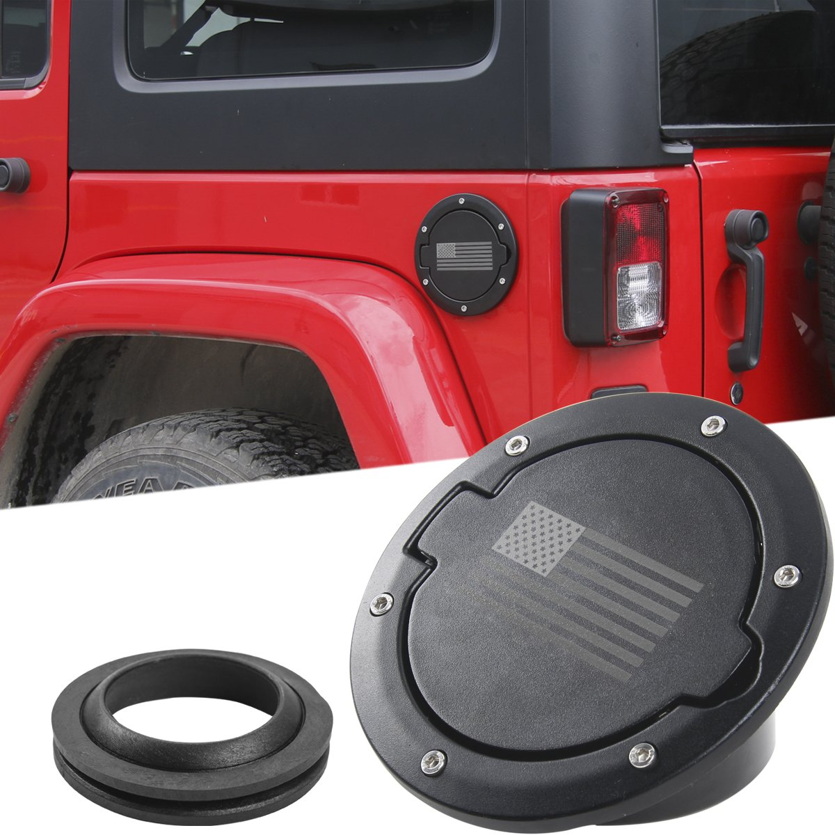 Gas Cap Cover Fuel Tank Cap Cover Replacement for 2018 Jeep Wrangler JL Sport Rubicon Sahara Unlimited (JL) RT-TCZ