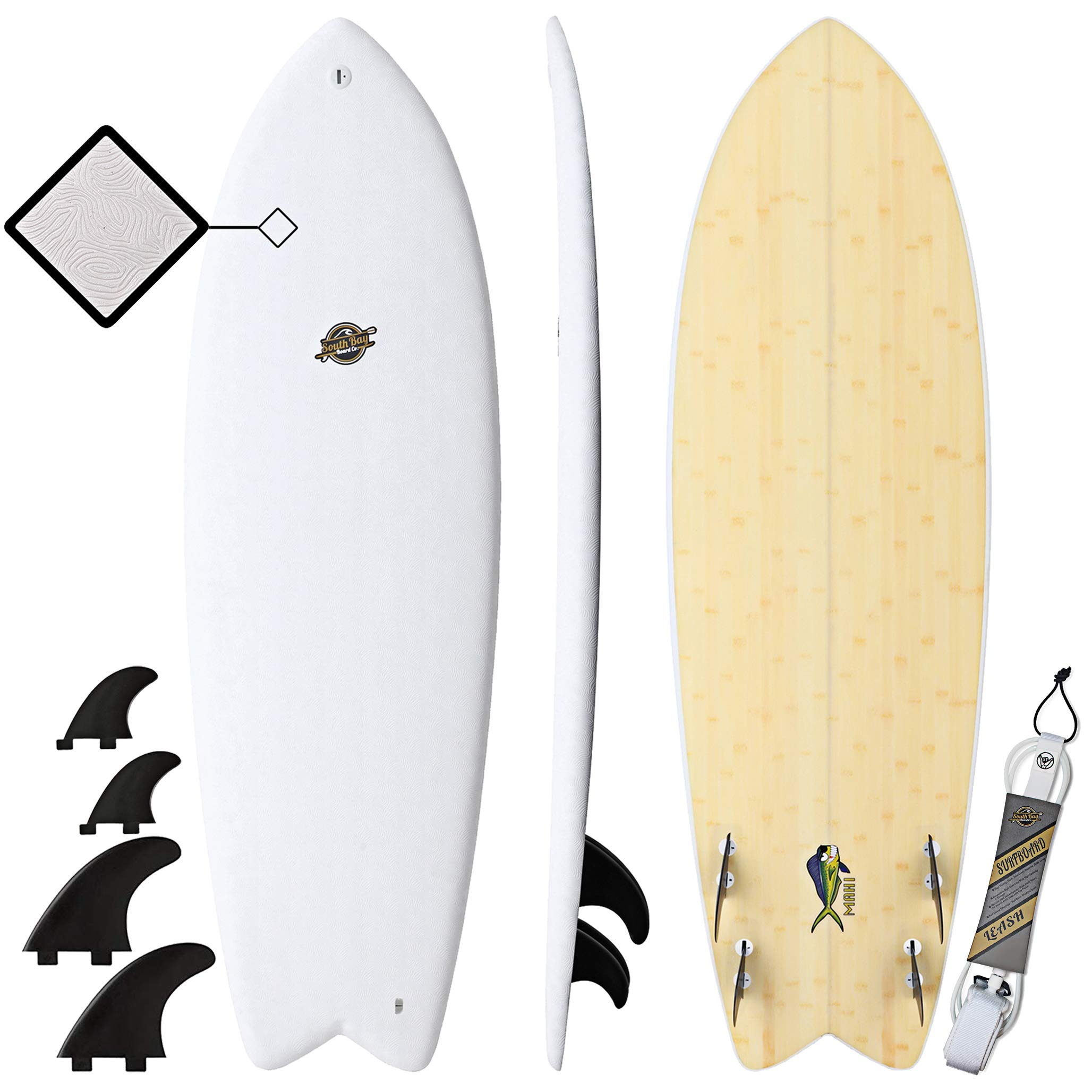Gold Coast Surfboards - 5'8 Hybrid Soft Top Surfboard -The Mahi -No Wax Needed Soft Foam Surfboard Deck, Rubber Logo, GoPro Mount + Bamboo Bottom Deck - Fish Shape Surfboard with FCSII Fin Boxes by South Bay Board Co.