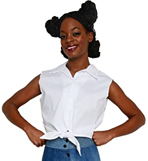 Hey Viv!! Sleeveless Tie Front Blouse in White Poplin by
