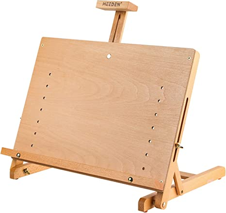 Holds Up to 23 Canvas Sturdy Wood Beechwood Desktop Painting Sketching Board and Display Easel Drawing Table MEEDEN Solid Beechwood Adjustable Tabletop Artist Studio Easel